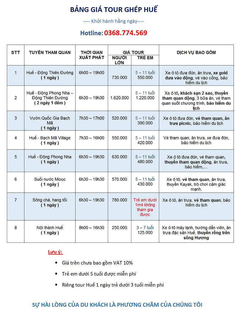 Bảng giá tour Huế